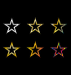 star set stars of different colors vector image