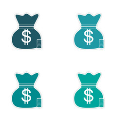 Stylish assembly sticker on paper bag of money vector