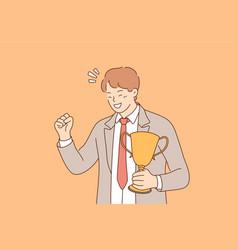 Success celebration win goal achievement vector