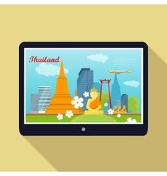 Thailand Travelling banner Thai Landmarks Tablet vector image