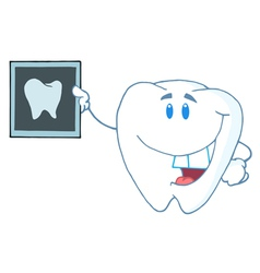 Tooth Cartoon Character With X-ray Picture vector image