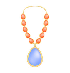 Topaz necklace mockup realistic style vector