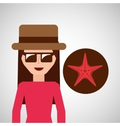 toursit female hat sunglasses starfish vector image