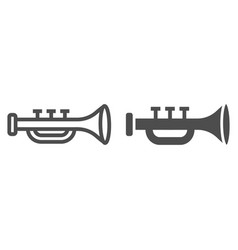 trumpet line and glyph icon musical and vector image