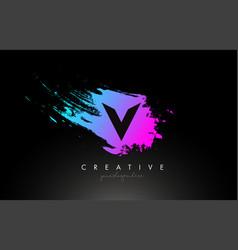 v artistic brush letter logo design in purple vector image