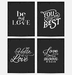 Valentines Day Minimal Typography Greeting Cards vector image