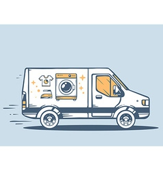 Van free and fast delivering washing mach vector