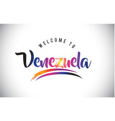 Venezuela welcome to message in purple vibrant vector