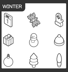 winter outline isometric icons vector image