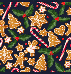 Winter seamless patterns with gingerbread cookies vector