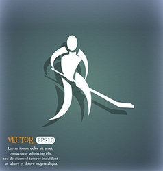 Winter sport Hockey icon On the blue-green vector image