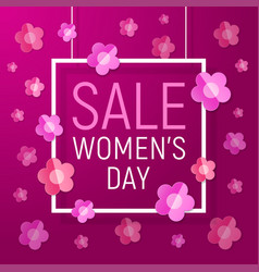 Womens day frame sale background - paper flowers vector
