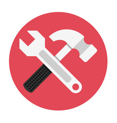 wrench and hammer flat icon vector image