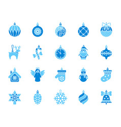 xmas tree decor simple color flat icons set vector image