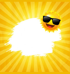 Yellow sunburst background with sun with vector