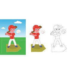 young baseball player vector image
