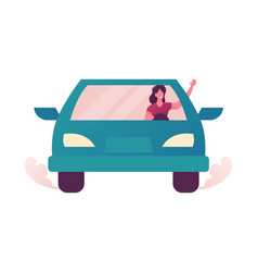young woman driving car trip to work or shopping vector image