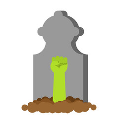 Zombie hand from grave green dead arm vector