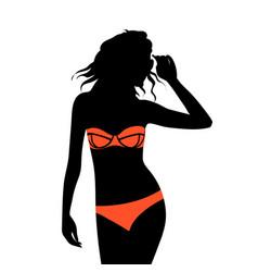 beautiful young woman with sunglasses and bikini vector image vector image