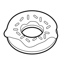 black silhouette cartoon donut with sparks vector image