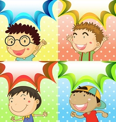 Boys in four different background vector image
