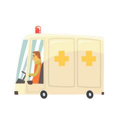 cartoon ambulance car vector image