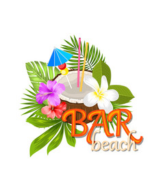 coconut cocktail in summer with garnish and straw vector image vector image