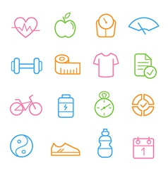 Colorful health and fitness icon set vector image vector image