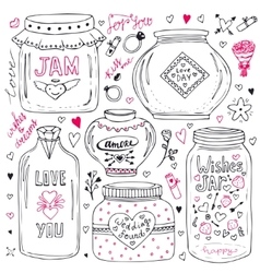 Cute mason jars set Valentines hand drawn doodle vector image
