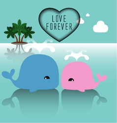 Cute whales with heart vector image vector image