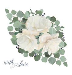 floral card design garden white creamy peony vector image