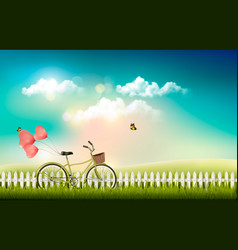 nature meadow landscape with a bicycle vector image