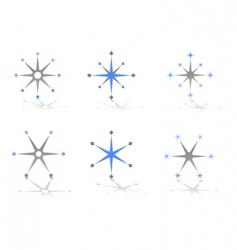 star and snowflake design elements vector image