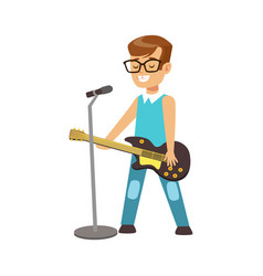 young smiling boy playing guitar and singing with vector image vector image
