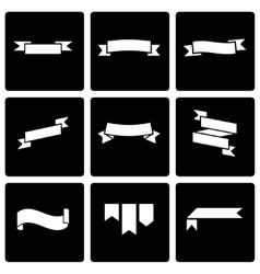 black ribbon icon set vector image