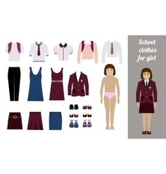 Create school girl kit with different uniforms vector image vector image