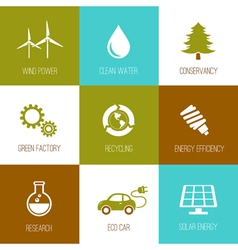 Ecology and nature conservation icons vector image