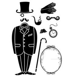 Gentleman retro suit and Accessories vector image vector image