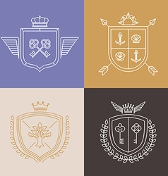 linear heraldry symbols and design elements vector image vector image