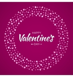 Pink Hearts Circle Frame Valentines Day Card vector image vector image