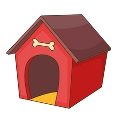 Red dog house icon cartoon style vector image