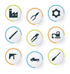 set of simple work icons vector image vector image