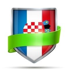 Shield with flag Croatia and ribbon vector image vector image