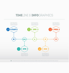 timeline infographic with icons and buttoms - vector image vector image