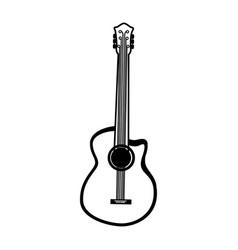 black icon guitar cartoon vector image