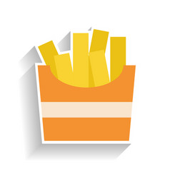 Cardboard box with fried potatoes flat color icon vector