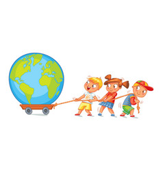 children pulling wagon with a globe vector image vector image