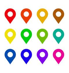 map pin flat icon set vector image vector image