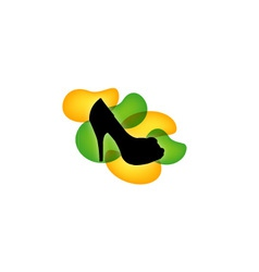 Shoe with green and yellow droplets vector image