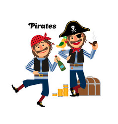 two pirates icons vector image